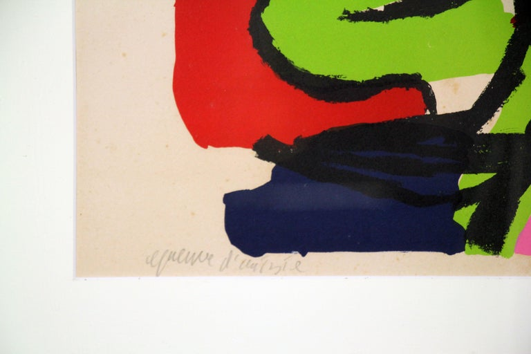 Color Abstract of Two Figures, Color Lithograph, 1964, Signed and titled - Beige Abstract Print by Karel Appel