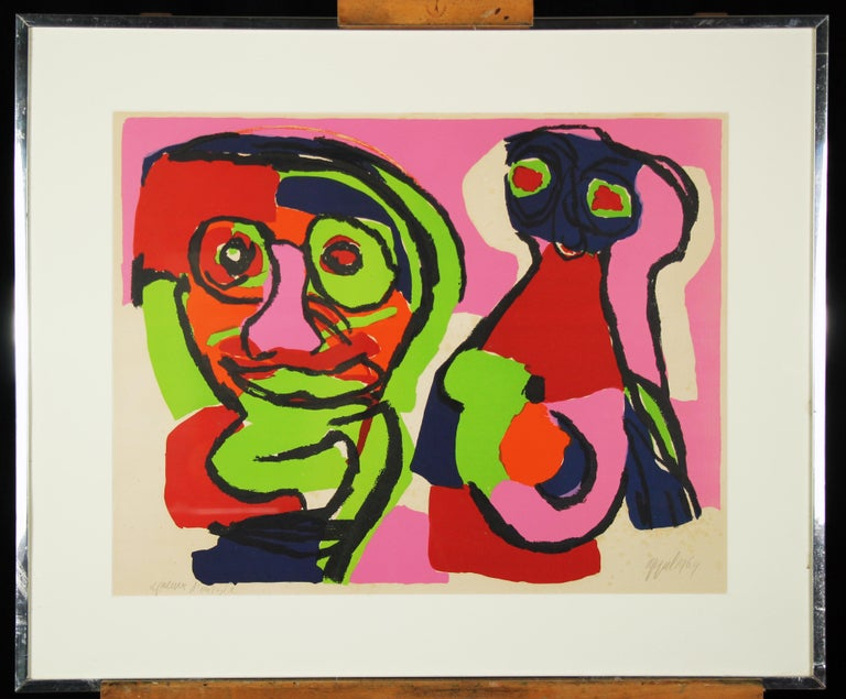 Karel Appel Abstract Print - Color Abstract of Two Figures, Color Lithograph, 1964, Signed and titled
