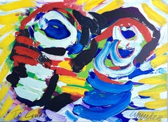 HAPPY COUPLE I Signed Lithograph, Abstract Portrait, Yellow, Blue, Red Face