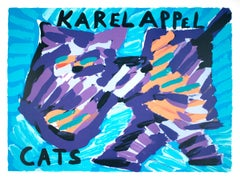 "Karel Appel-Cats-25.5"" x 32.25""-Lithograph-1978-Expressionism-Multicolor, Blue"