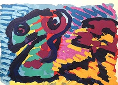 LYING IN COLORS Signed Lithograph, Colorful Abstract Portrait, Googly Eyes