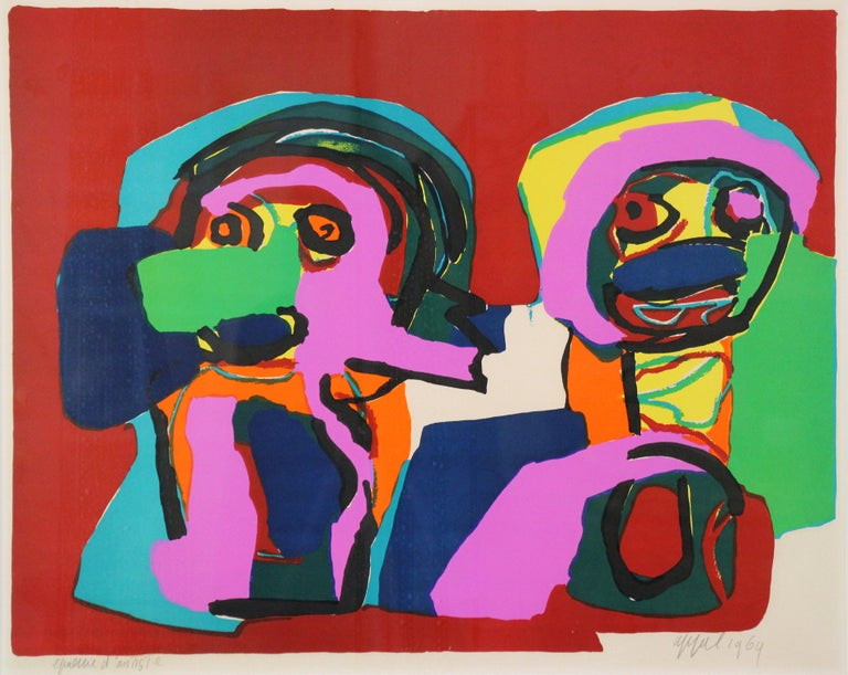 Multi Colored Abstract of Two Figures, Color Lithograph, 1964, Signed and titled - Print by Karel Appel