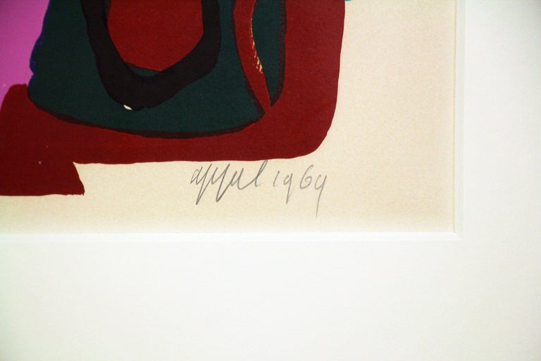 Multi Colored Abstract of Two Figures, Color Lithograph, 1964, Signed and titled - Gray Abstract Print by Karel Appel