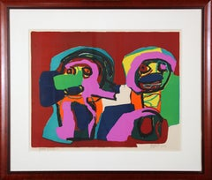Multi Colored Abstract of Two Figures, Color Lithograph, 1964, Signed and titled