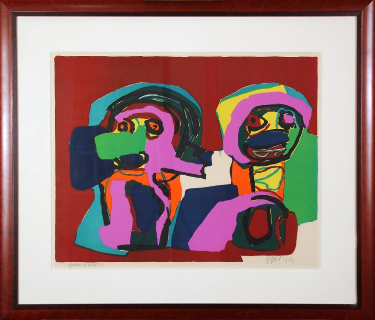 Karel Appel Abstract Print - Multi Colored Abstract of Two Figures, Color Lithograph, 1964, Signed and titled