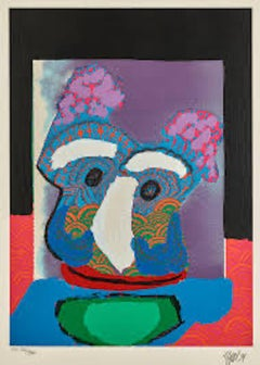Purple Owl, Embossed etching hand-signed limited edition