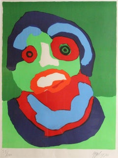 Single Abstract Figure in Red, Green, and Blue, Limited Edition Print, 1970
