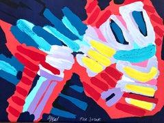 SLEEPY BIRD, Signed Lithograph, Bold Color Abstract Bird, Smiling Face
