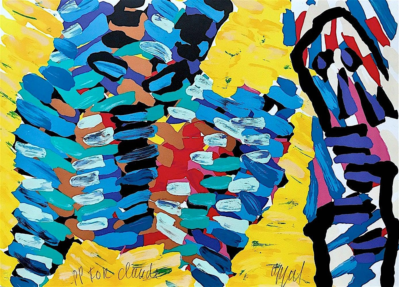 YELLOW FIELDS Signed Lithograph Abstract Animal and Person Yellow Blue Red Black