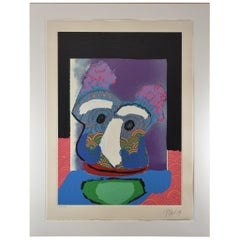 Karel Appel Purple Owl 1979 38 / 130 Lithograph Framed