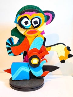 Karel Appel Colorful Expressionist Hand Painted Wood Cobra Sculpture Pop Art