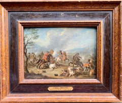 Antique 17th or 18th century Dutch Men on horses in Battle in a landscape