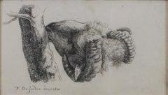 """""""Ram Eating Bark,"""" Etching signed by Karel DuJardin"""