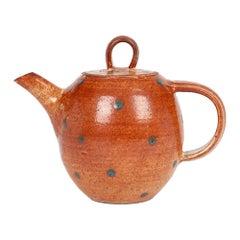 Karen Ann Wood Studio Pottery Red Glazed Spot Design Lidded Teapot