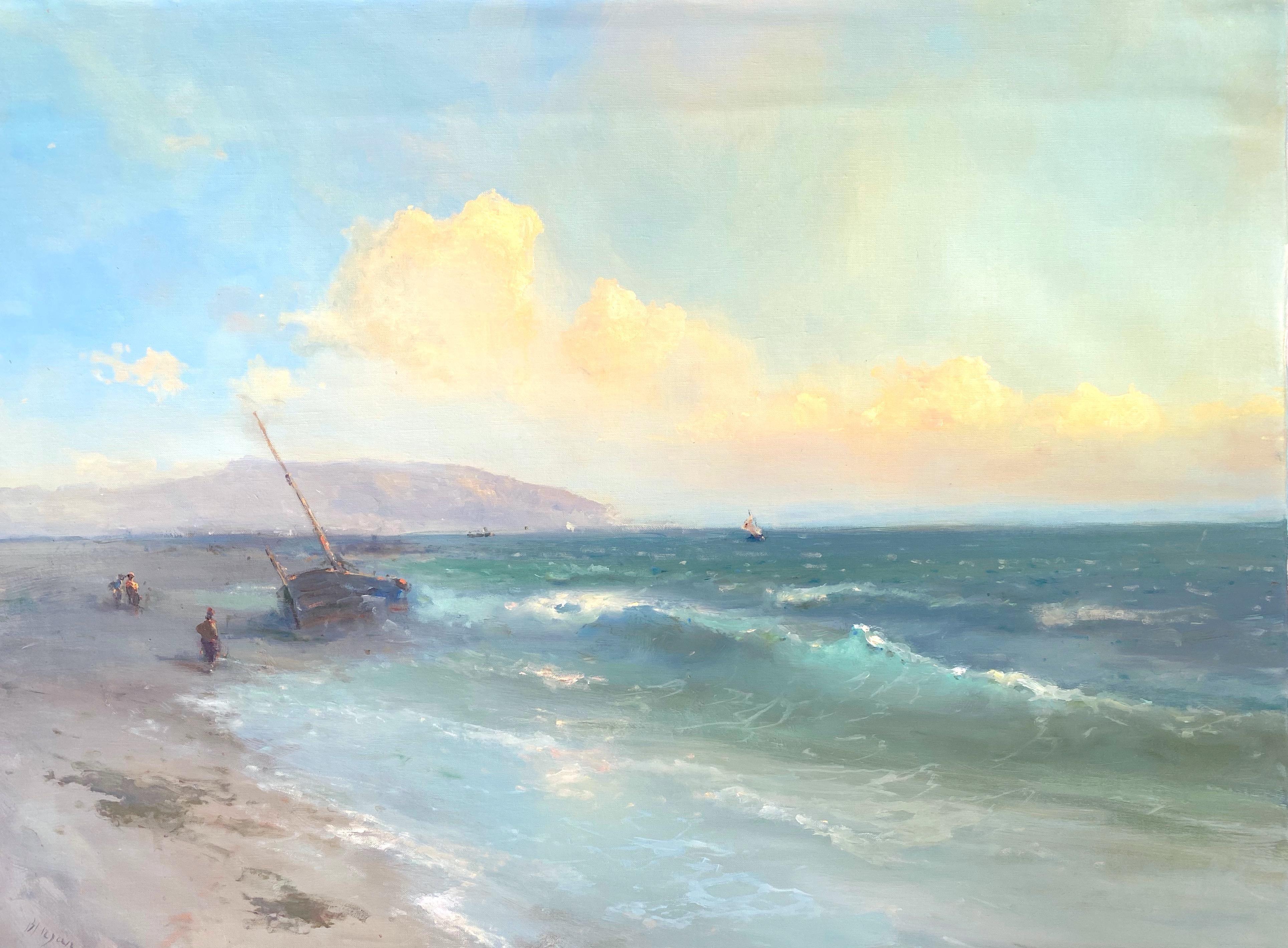 Fishing Boat, Original oil Painting, Framed