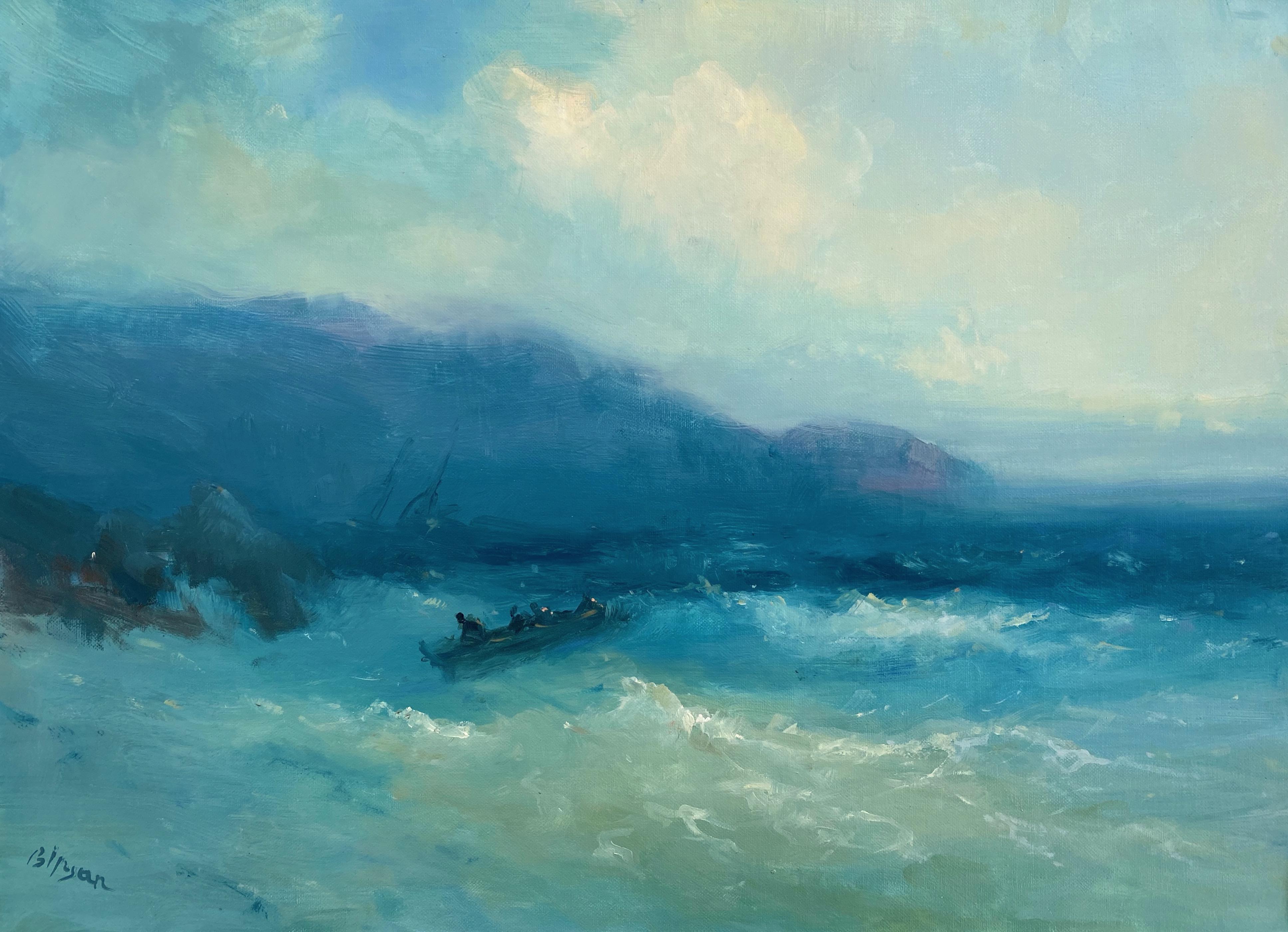 Near to Cliffs, Original oil Painting, Framed