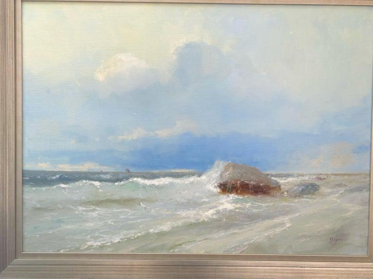Ocean Cliff, Original oil Painting, Framed - Gray Landscape Painting by Karen Darbinyan