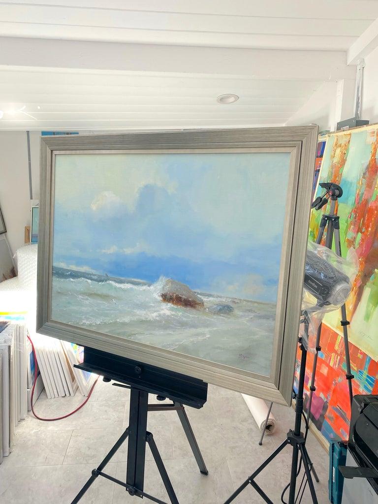 Artist: Karen Darbinyan Work: Original Oil Painting, Handmade Artwork, One of a Kind Medium: Oil on Linen, Year: 2021 Style: Impressionism Subject: Ocean Cliff Size: 25