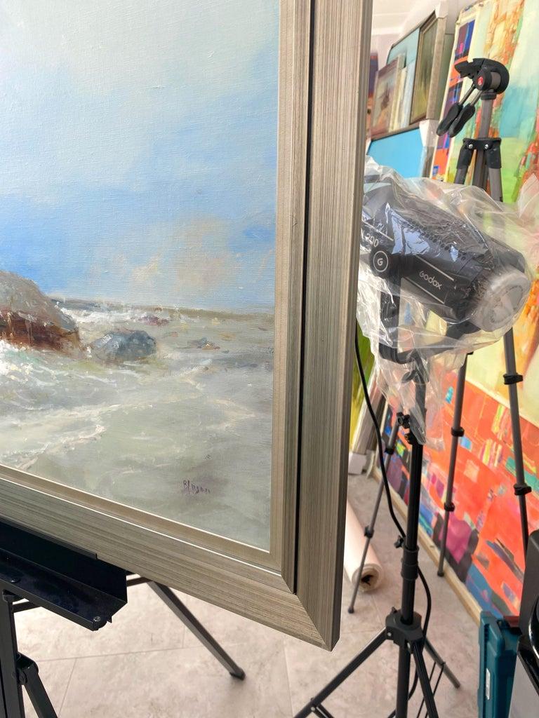 Ocean Cliff, Original oil Painting, Framed For Sale 1