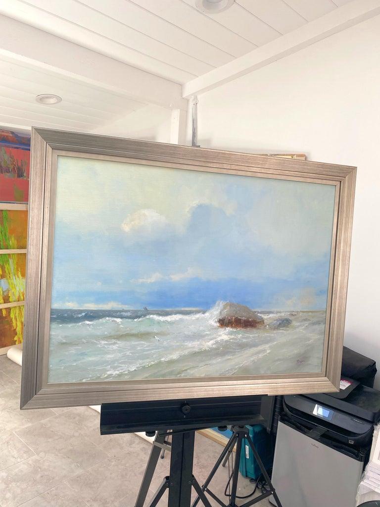 Ocean Cliff, Original oil Painting, Framed For Sale 2