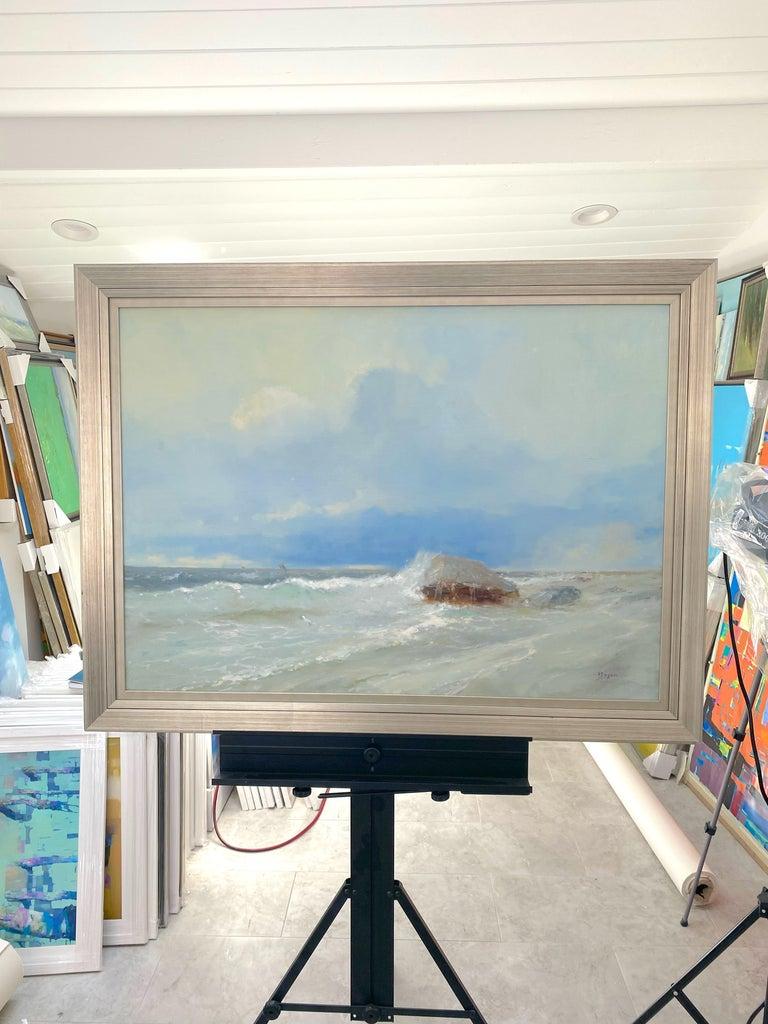 Ocean Cliff, Original oil Painting, Framed For Sale 3