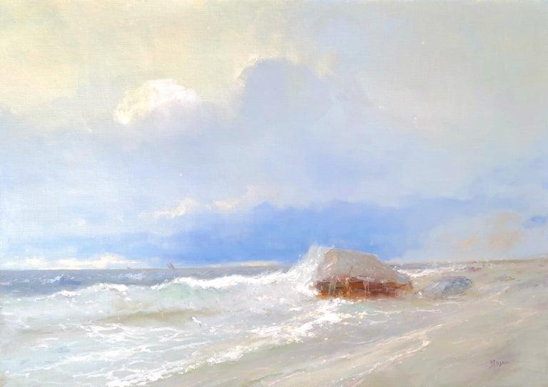 Karen Darbinyan Landscape Painting - Ocean Cliff, Original oil Painting, Framed