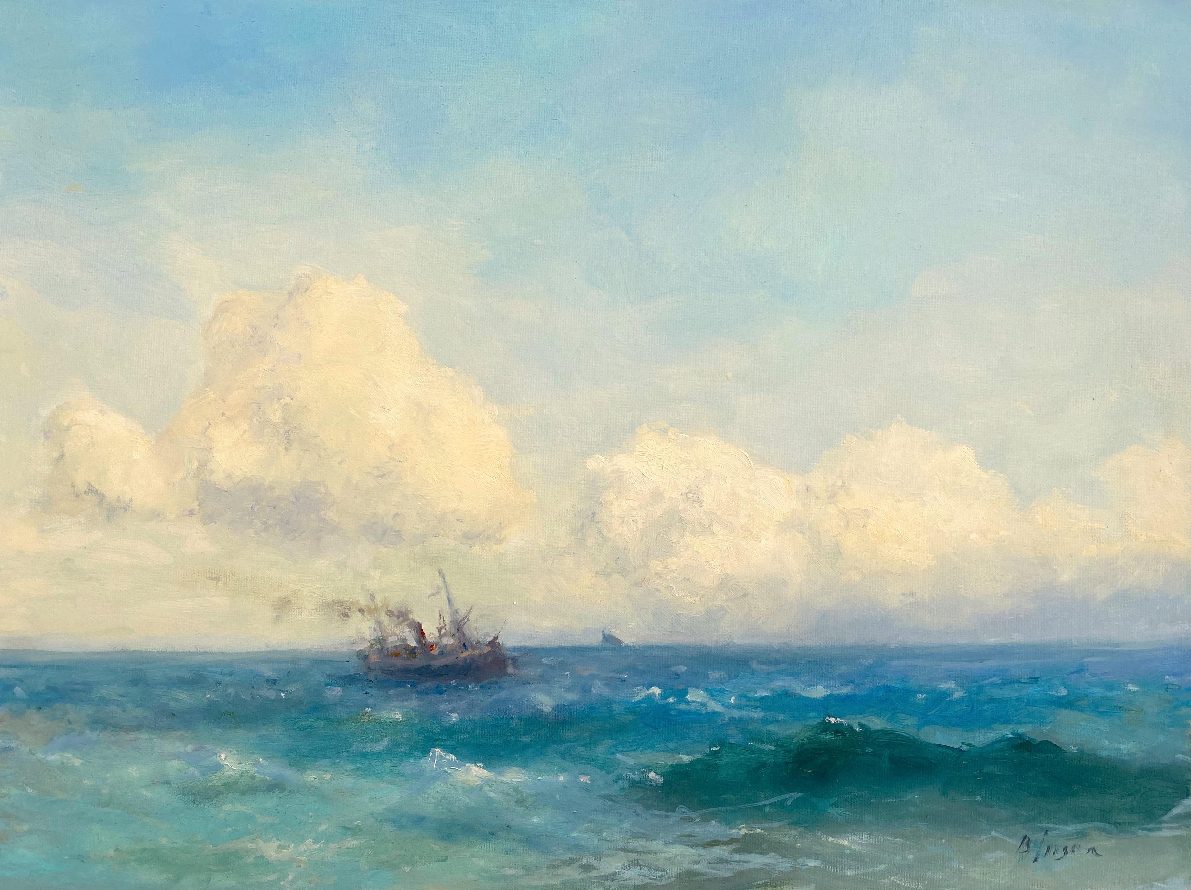 Ocean, Original oil Painting, Framed