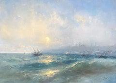 Sunset, Original oil Painting, Framed