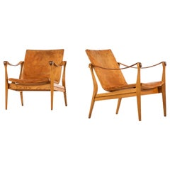 Karen & Ebbe Clemmensen Easy Chairs Produced by Ludvig Pontoppidan in Denmark