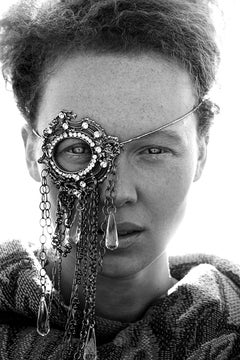 Monocle I,  Black and white fashion photo of model in jeweled monocle