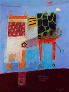 """""""Lolita and Bees,"""" Acrylic on Paper Abstract signed by Karen Hoepting"""