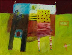 """""""The Land Ark,"""" Acrylic on Paper Abstract signed by Karen Hoepting"""