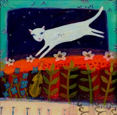 """White Cat Night,"" acrylic on paper by Karen Hoepting"