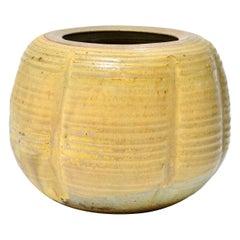 Karen Karnes Mid-Century Modern Stoneware Art Pottery Vase with Green Glaze