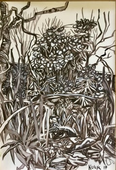 Euphorbia, floral black and white gouache painting on paper