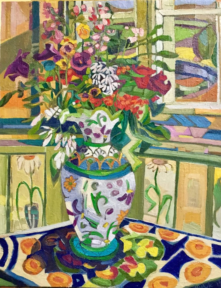 Interior with Jim Smith Vase, floral gouache painting on paper