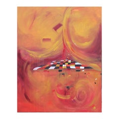 """Alegria (Happiness)"" Orange and Red Abstract Expressionist Painting"