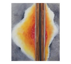 Linear Orange and Grey Abstract Painting
