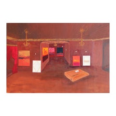 Red and Brown Toned Gallery with Package and Abstract Expressionist Paintings
