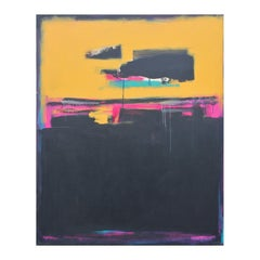 """Reflections of the Past"" Blue, Yellow, and Pink Abstract Expressionist Painting"