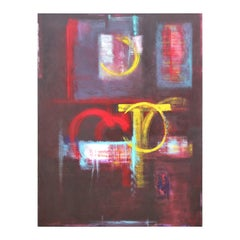 """Separate Issues II"" Large Red and Yellow Modern Abstract Expressionist Painting"