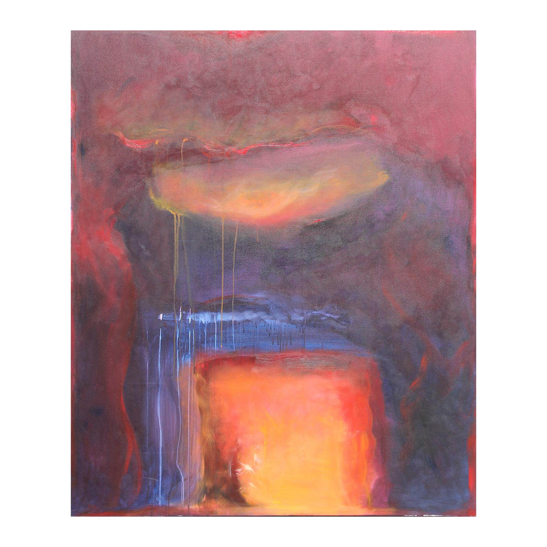"""""""Sounding V"""" Large Red, Orange, and Blue Abstract Expressionist Painting"""