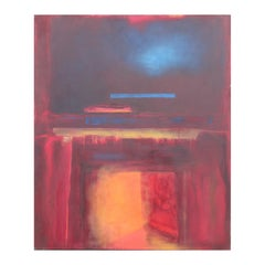 """Sounding VII - Sanctuary"" Red, Orange, and Blue Abstract Expressionist Painting"