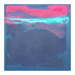 """""""Spirit Suite-Earthscape III"""" Pink, Aqua, & Navy Abstract Expressionist Painting"""