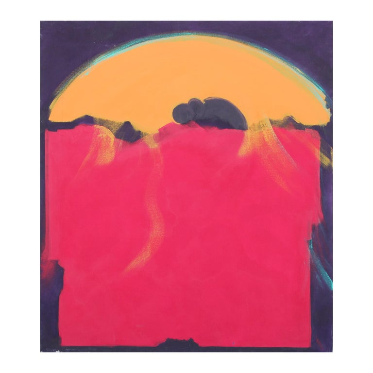 """Karen Lastre Abstract Painting - """"Spiritual Advisor"""" Red, Orange, and Navy Modern Abstract Expressionist Painting"""