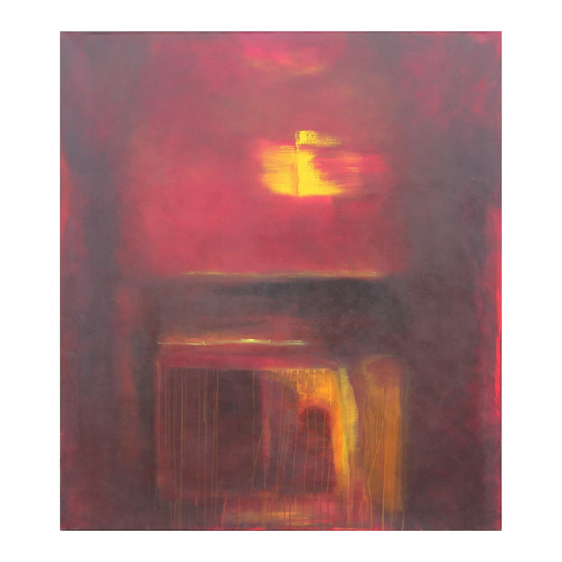 """""""Unexpected Pleasures"""" Red and Yellow Abstract Expressionist Painting"""