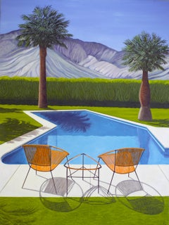 'Come and Sit by the Pool' Oil on Canvas, Contemporary Painting