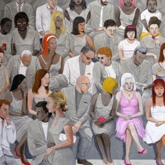 'Crowd V' Oil on Canvas, Contemporary Painting