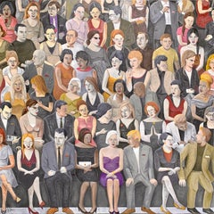 'Crowd VII' Oil on Canvas, Contemporary Painting