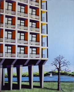 'Flats on Stilts' Oil on Canvas, Contemporary Painting